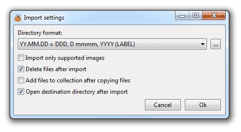 Import pictures settings
