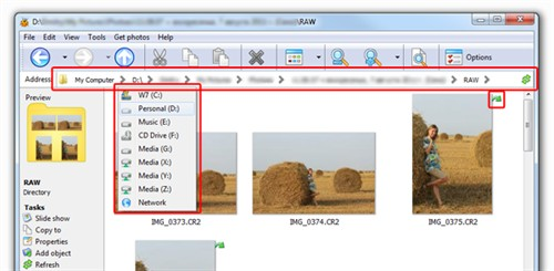 PAth editor in Windows7 style, RAW image rotation